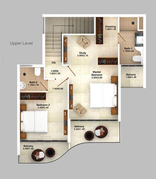 3bhk-duplex-garden-view-floor-plan-2d-upper-level